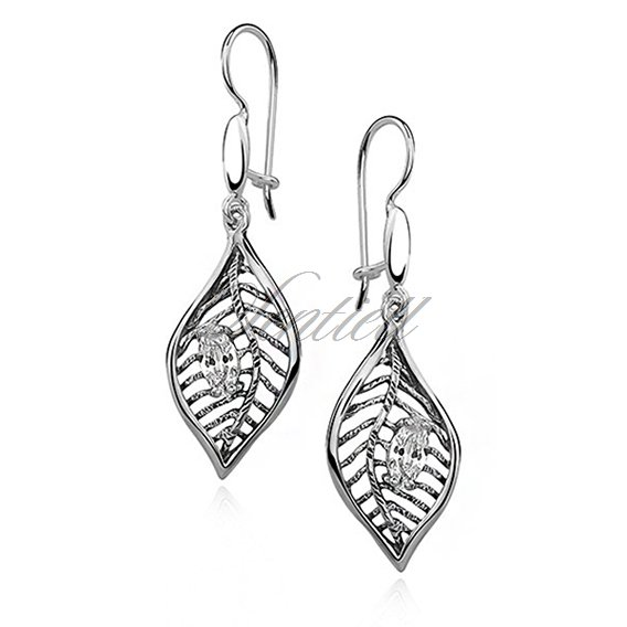 Silver (925) earrings leaf, high polished