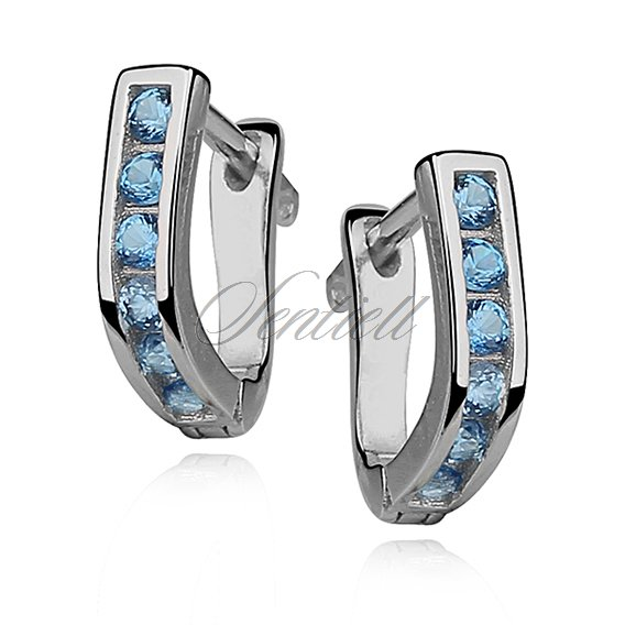 Silver (925) earrings light blue zirconia