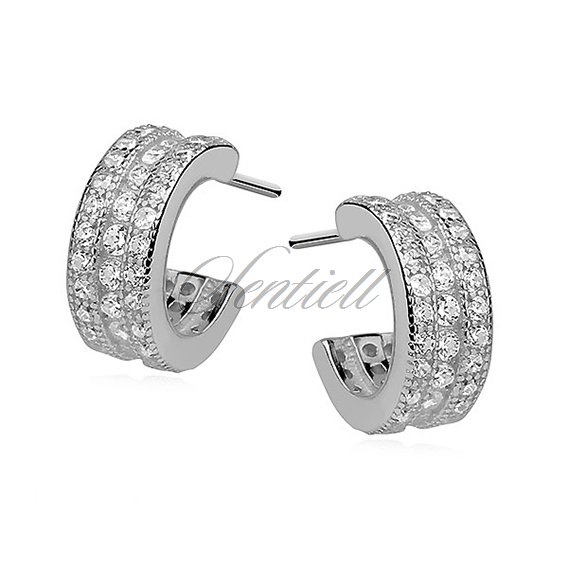 Silver (925)earrings open hoop with three rows of zirconia
