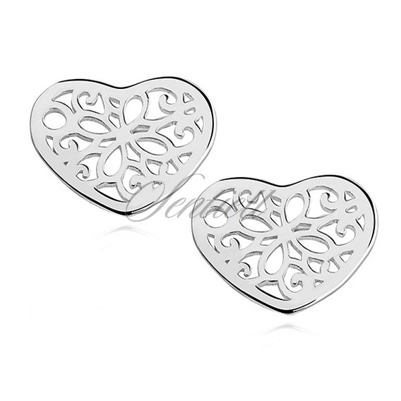 Silver (925) earrings open-works hearts