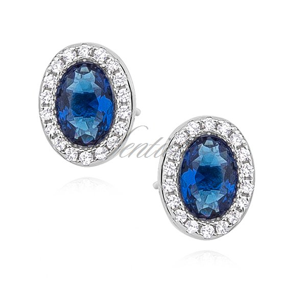 Silver (925) earrings oval with sapphire zirconia