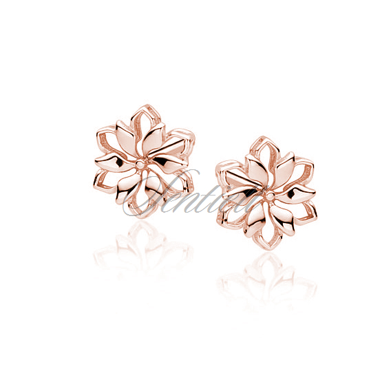 Silver (925) earrings rose gold-plated flowers