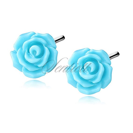 Silver (925) earrings roses - blue