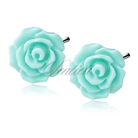 Silver (925) earrings roses - turquoise