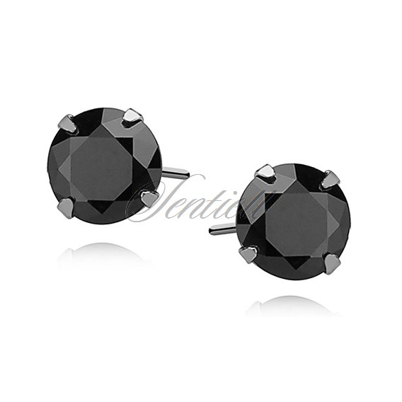 Silver (925) earrings round black zirconia diameter 6mm