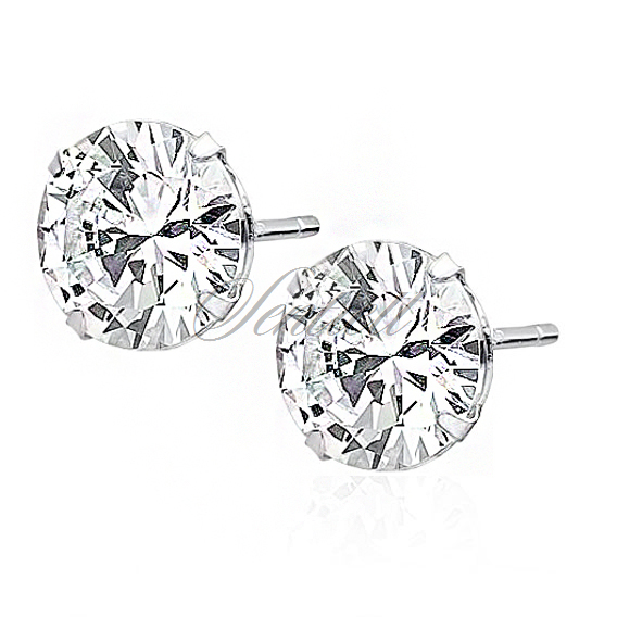 Silver (925) earrings round white zirconia diameter 10mm