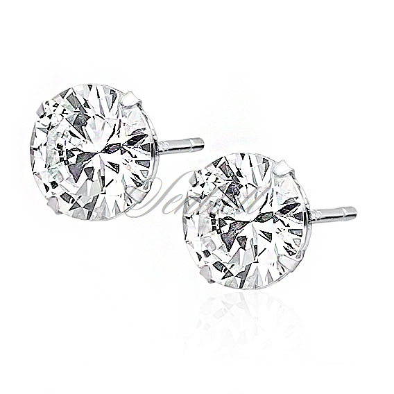 Silver (925) earrings round white zirconia diameter 8mm