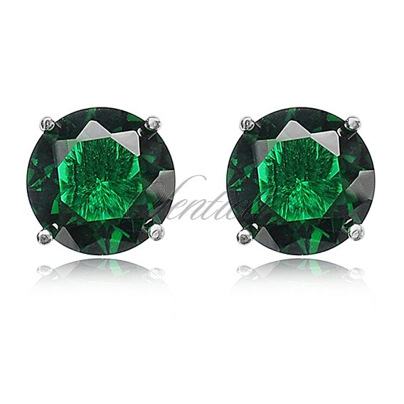 Silver (925) earrings round zirconia diameter 8mm green