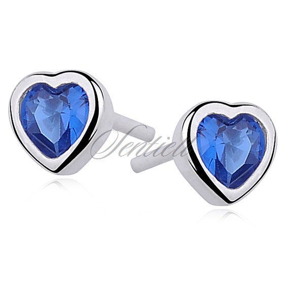 Silver (925) earrings sapphire colored zirconia hearts
