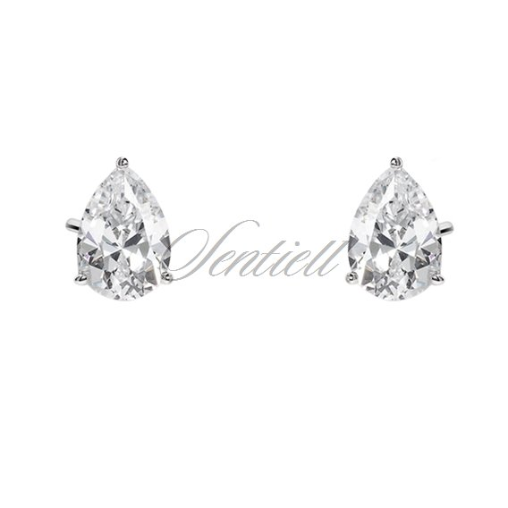 Silver (925) earrings tear-shaped white zirconia 5 x 7mm