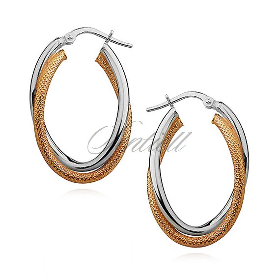 Silver (925) earrings wavy, double oval