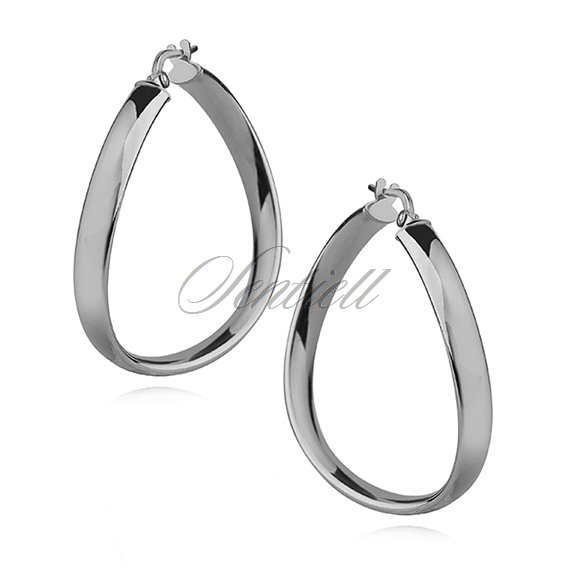 Silver (925) earrings wavy hoops - highly polished