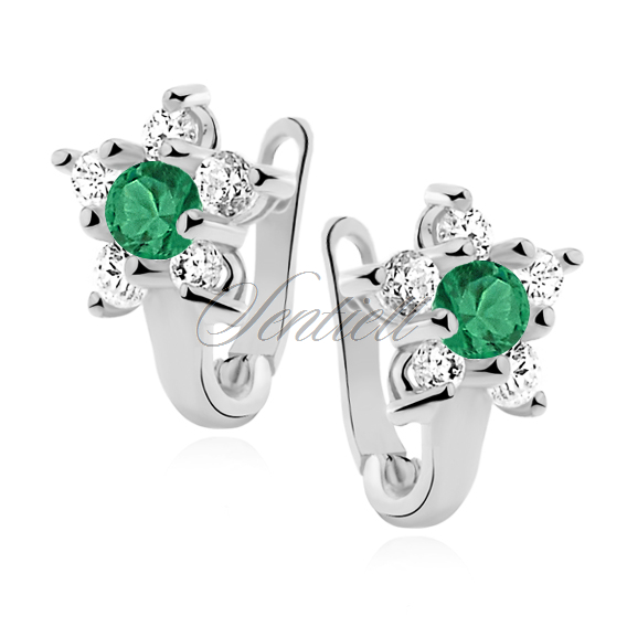 Silver (925) earrings white and green zirconia flower