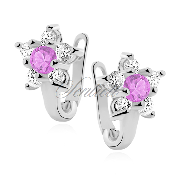 Silver (925) earrings white and light pink zirconia flower