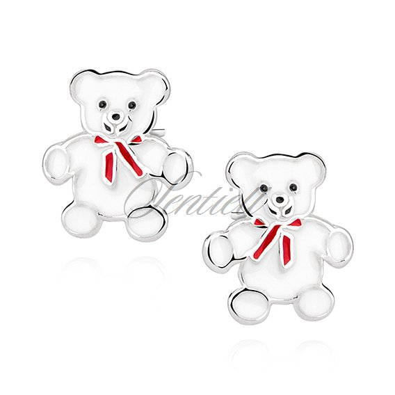 Silver (925) earrings white enamelled teddybears