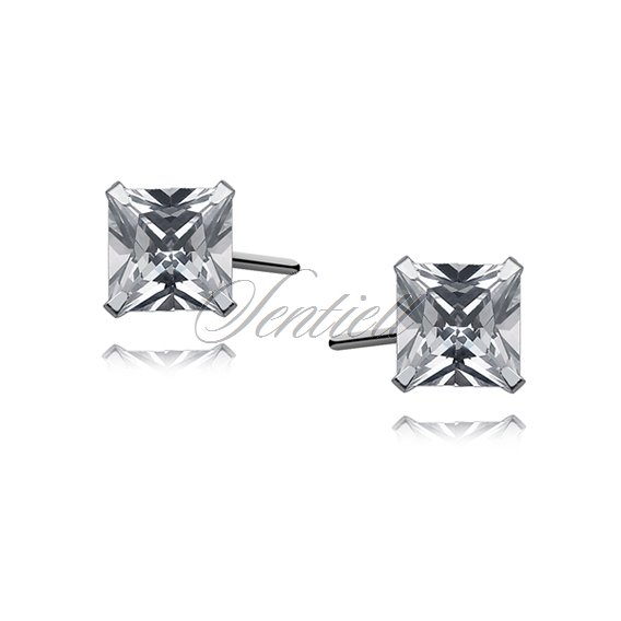 Silver (925) earrings white zirconia 5 x 5mm square