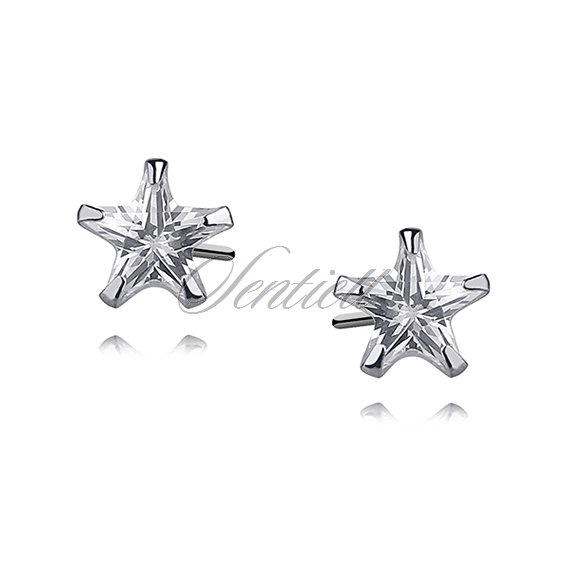 Silver (925) earrings white zirconia 6 x 6mm stars
