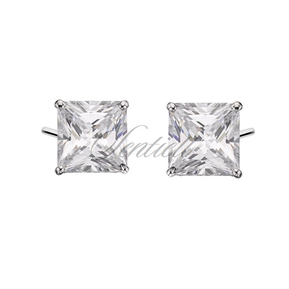Silver (925) earrings white zirconia 7x7mm