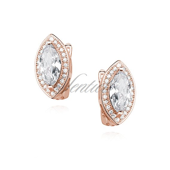 Silver (925) earrings white zirconia, rose gold-plated