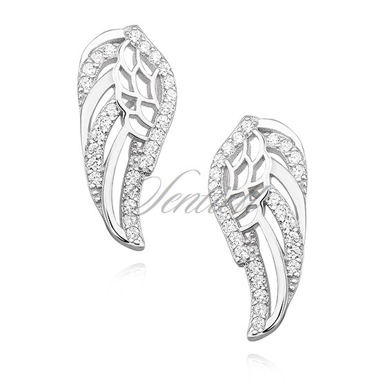 Silver (925) earrings - wings with zirconia