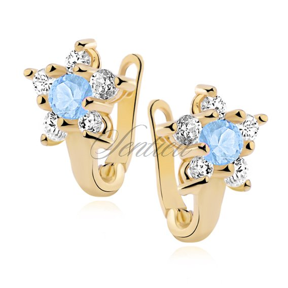 Silver (925) earrings with aquamarine zirconia, gold-plated flower