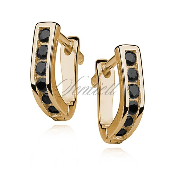 Silver (925) earrings with black zirconia, gold-plated