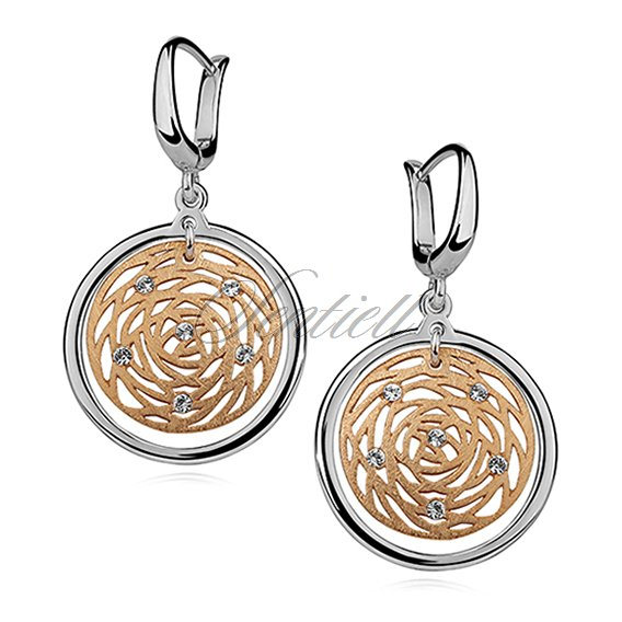 Silver (925) earrings with gold-plated, open work element
