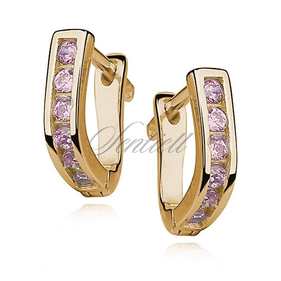 Silver (925) earrings with light pink zirconia, gold-plated