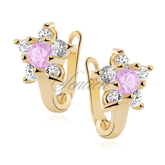 Silver (925) earrings with light pink zirconia, gold-plated flower