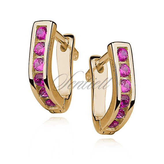 Silver (925) earrings with pink zirconia, gold-plated