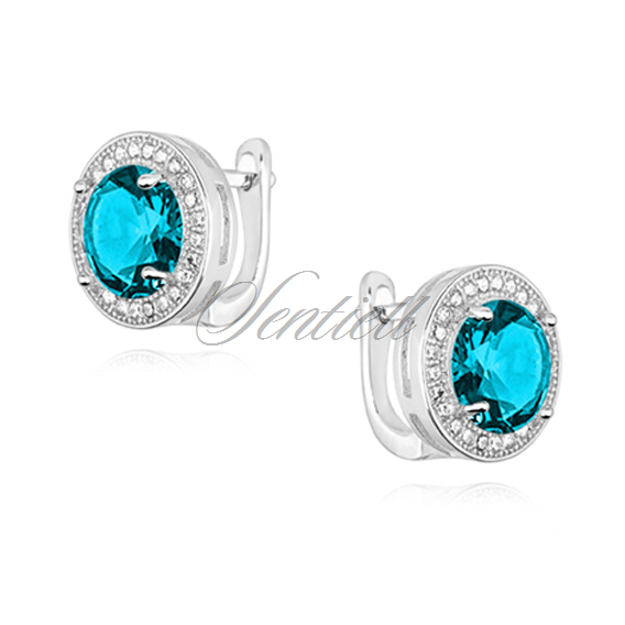 Silver (925) earrings with round aquamarine zirconia
