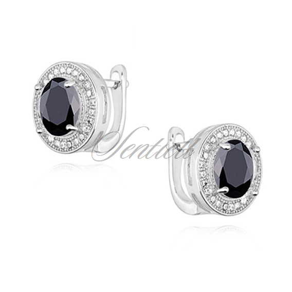 Silver (925) earrings with round black zirconia