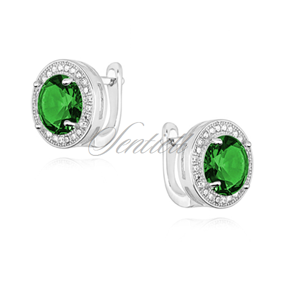 Silver (925) earrings with round emerald zirconia