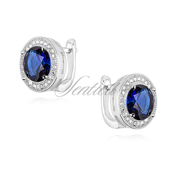 Silver (925) earrings with round sapphire zirconia
