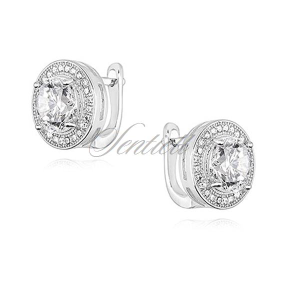 Silver (925) earrings with round white zirconia