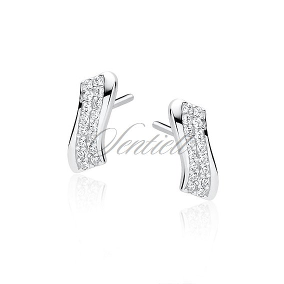 Silver (925) earrings with white zirconia