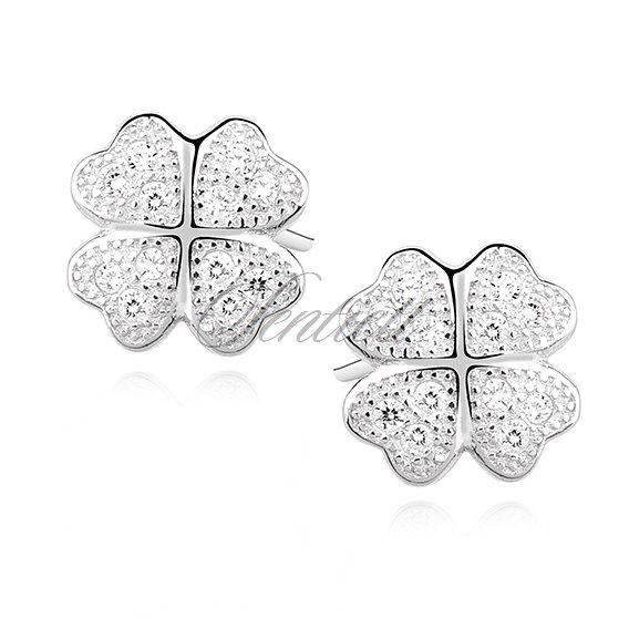 Silver (925) earrings with white zirconia - koniczynki
