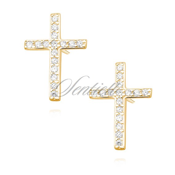 Silver (925) earrings with zirconia - crosses