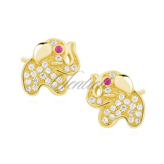Silver (925) earrings with zirconia, gold-plated elephants with pink eyes