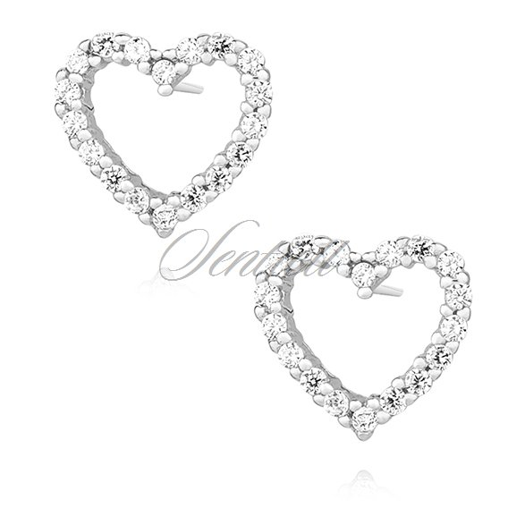 Silver (925) earrings with zirconia - hearts
