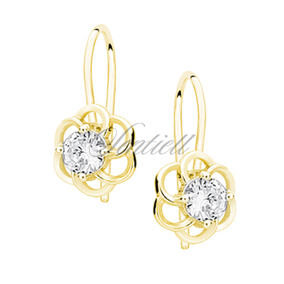 Silver (925) elegant earrings - fSilver (925) elegant earrings - gold-plated flowers with zirconialowers with zirconia