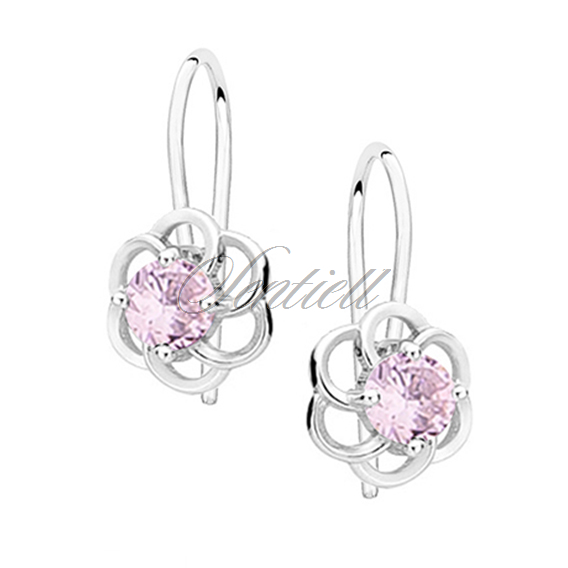 Silver (925) elegant earrings - flowers with light pink zirconia
