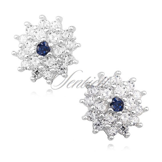 Silver (925) elegant earrings - flowers with sapphire zirconia