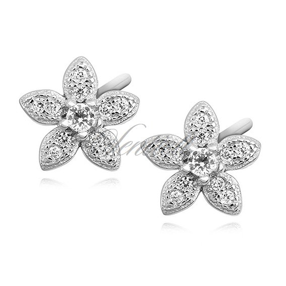 Silver (925) elegant earrings - flowers with zirconia