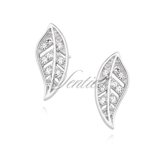 Silver (925) elegant earrings - leafs with zirconia