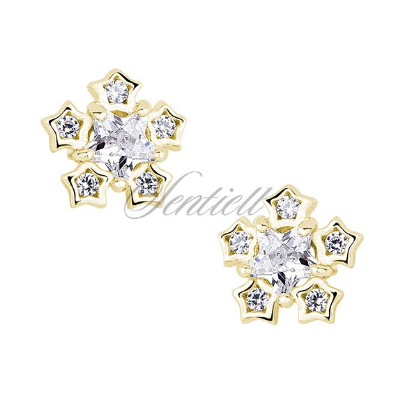 Silver (925) elegant earrings - snowflakes with zirconia, gold-plated