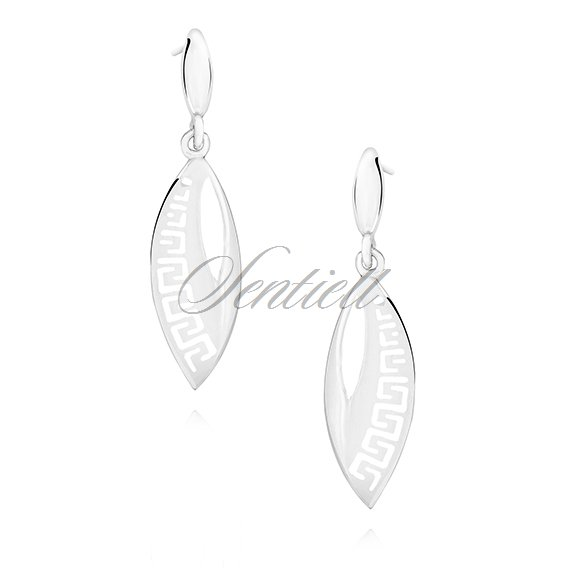 Silver (925) elegant earrings with Greek pattern