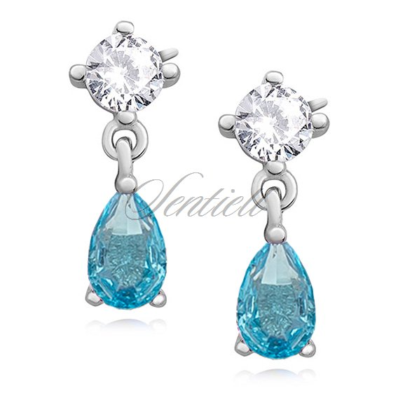 Silver (925) elegant earrings with aquamarine zirconia