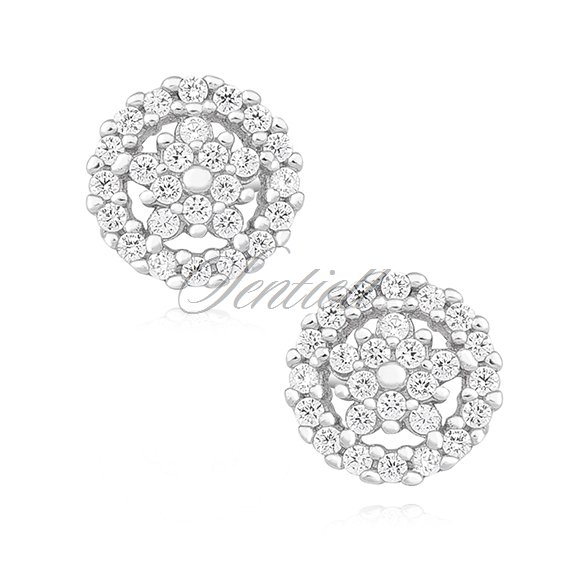 Silver (925) elegant earrings with zirconia