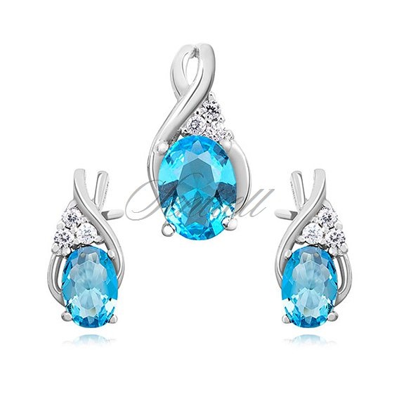 Silver (925) elegant jewelry set with aquamarine zirconia